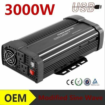 Car Power Inverter 3000W Peak 6000W 12V/24V to 220V 50HZ Pure Sine Wave TB