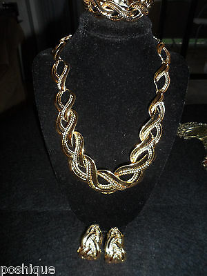 Napier Set Vintage Antique Necklace Earrings Braclet Gold Tone Statement  Thick