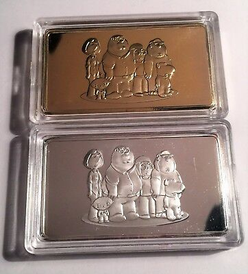 Set of 2 FAMILY GUY 1 Troy Oz Ingots Finished in 999 Fine Silver and 24k Gold