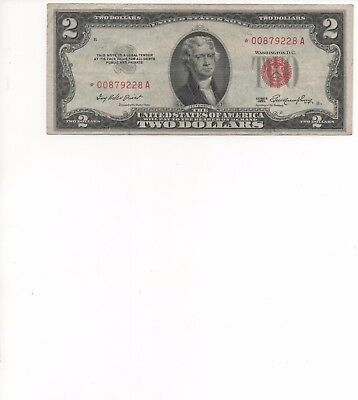 1953- $2 ** STAR ** Red Seal Note Two Dollar Bill G-VG OLD CURRENCY