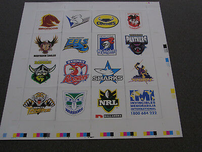 Rugby League NRL 2000 club logo sheet of fridge magnets