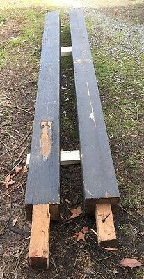 2 USED OREGON TIMBER RECYCLED SQUARE POSTS 145x145mm  2.2m. MINOR TWISTS IN THEM