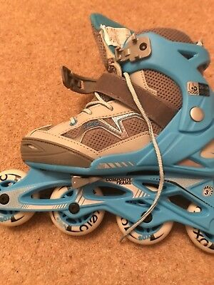 Blue and grey roller skates size 2.5-5