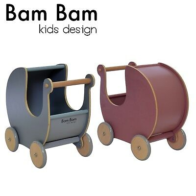 Bam Bam Kids Design Wooden Doll Pram Childrens Kids Toy 2 Colours Toddler Gift