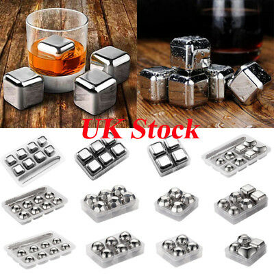 Stainless Steel Wine Cooler Stones Ice Cube Whiskey Beer Rocks Set Drink Chiller