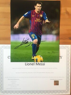 Genuine Hand Signed Lionel Messi 10x8 Photo With COA