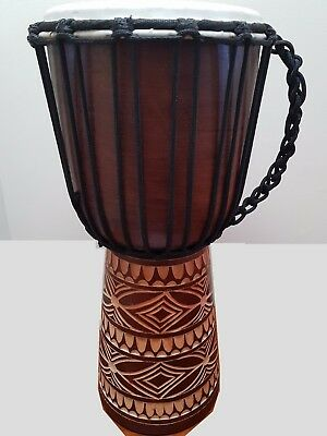 QUALITY MAHOGANY WOOD BONGO DJEMBE DRUM TRIBAL CARVED NATURAL Kbr 40CM