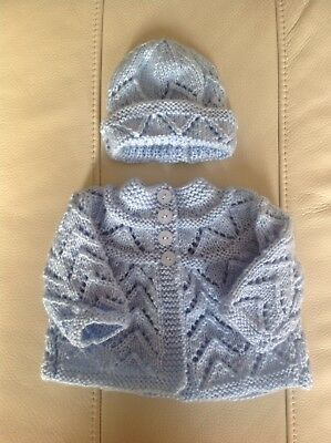 Newborn Reborn Baby Boy Set,hat Cardigan Blues
