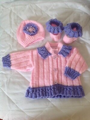 0-6 Month Dual Colour Hand Knitted Set. Pink And Lilac,ruffles,flowers,reborn