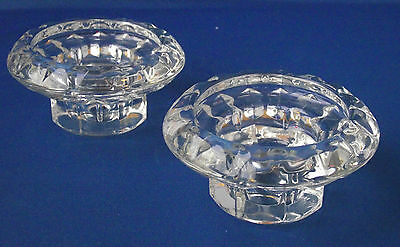 Clear Glass Crystal Sparkling Multi Size Candle Holder Pair ARC France Christmas