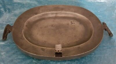 Large Oval London Antique Pewter Warming Plate .nr