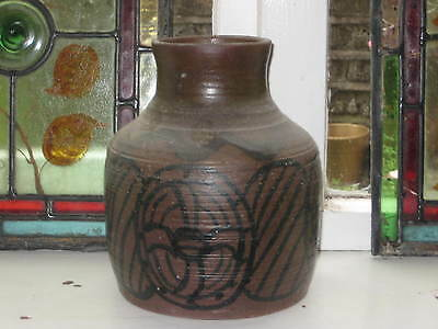 Studio Pottery Vase Painted Repeat Tribal Decoration