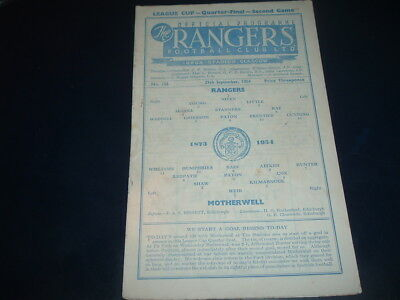 Rangers v Motherwell Sept 1954 League Cup