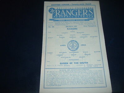 Rangers v Queen of the South March 1955