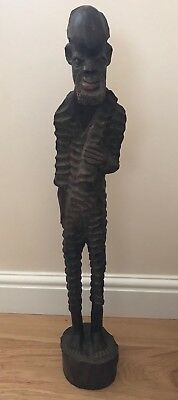Vintage Authentic Large African Wood Hand Carving Sculpture 'Man'40 years old