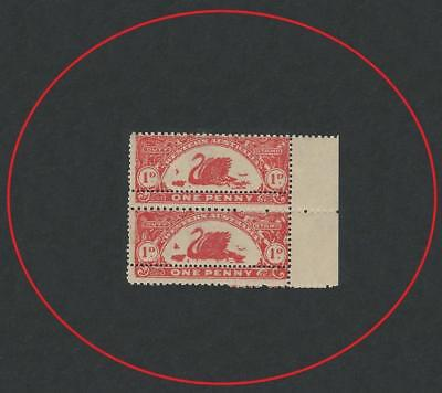 WESTERN AUSTRALIA 1909 1d RED PAIR REVENUE DUTY MISS-ALIGNED PERFORATION MH RARE