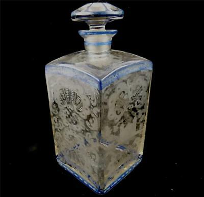 Antique Bohemian Hand Etched Glass Square Decanter With Blue Bands
