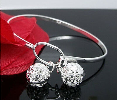 NEW 925 sterling silver jewelry  Hallow Balls bracelet bangle chain Gift solid 8