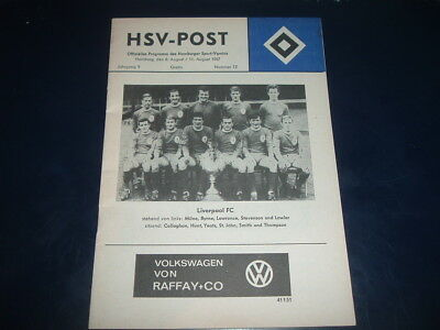 HSV Hamburg v Liverpool / Nantes Aug 1967 double issue