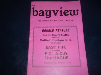 East Fife v The Hague / Leven Royal Colts v Duffield Aug 1972 double issue