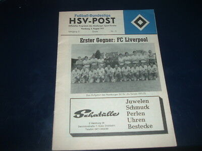 HSV Hamburg v Liverpool Aug 1971