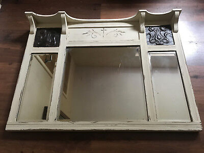 Late Victorian Arts & Crafts Overmantle Mirror - Vintage 'Shabby Chic' Style