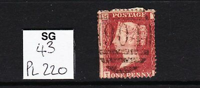SG 43 plate 220 Penny Red for plate reconstruction or postmark interest