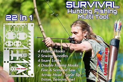 x EDC Hunting Fishing Wilderness Survival Card Multi Tool Hooks Spoons Saw Arrow