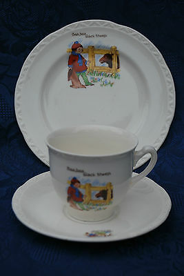 Vintage Baa Baa Black Sheep Nursery Ware Cup Trio 1940's
