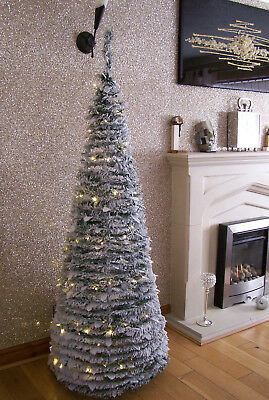 6ft White Snow Tipped Pop Up Christmas Tree Pre-Lit w 100 Warm White LED Lights