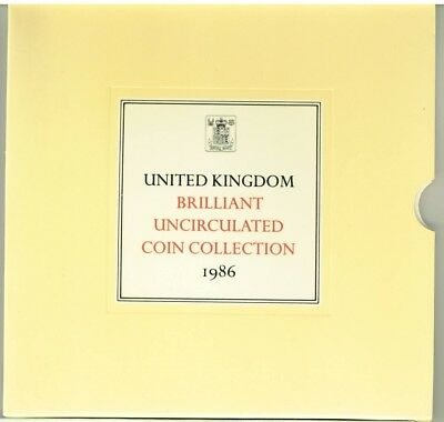 UK GREAT BRITAIN 1986 coin BUNC set 1 Penny - 2£ POUNDS COIN SET UNCIRCULATED