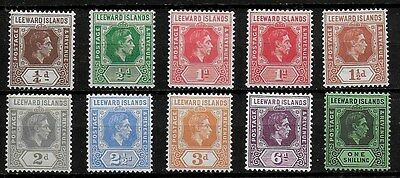Leeward Islands 1938 KGVI Definitives SS to 1s - MH - ordinary paper