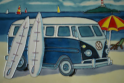 Campervan and Surfers Decorative Wall Plaque - Ceramic Plaque  #50