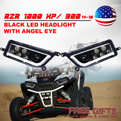 ATV Polaris RZR XP 1000 RZR 900 LED Headlight Kit White Angle Eye Turbo Velocity