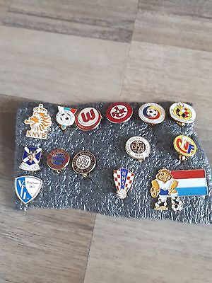 Collection Of 14 National And Club Team Football Badges From The 1990's