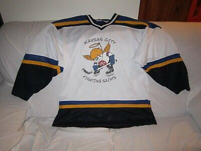 Kansas City Fighting Saints Vintage Ice Hockey Jersey Size Medium #23