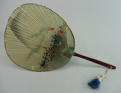 U101 Japanese Water Fan Bamboo Paper Handmade Yellow Traditional Vtg Mizu Uchiwa