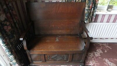 Vintage  Gothic Style Solid Oak Dark Wood 2-Seater Monks Bench