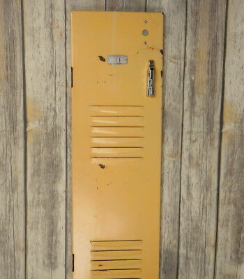 Vintage Locker Door Industrial Home Decor Yellow Distressed Steampunk Found Art