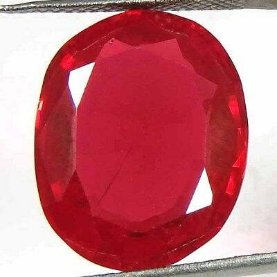 15.80CtsNatural red ruby Imitation oval cut cabochon ring size loose gemstone