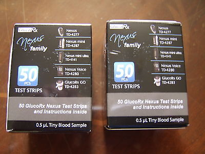 GlucoRx Nexus100 test strips 2 boxes,100 lancets