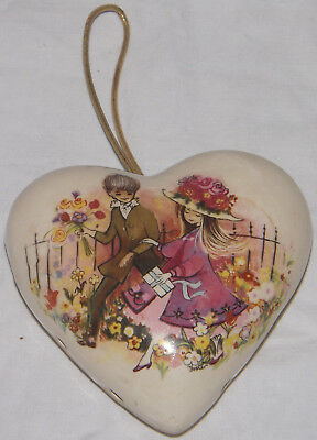 Vintage Ceramic Pomander Pot Pourri Heart Young Boy Girl Flowers Air Freshener