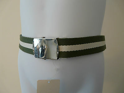 Bnwt Monsoon Accessorize Boys Green Striped Cotton Fabric Belt One Size