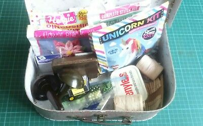 Sewing box with contents / beads, buttons, darning ,sewing kits, cottons ect