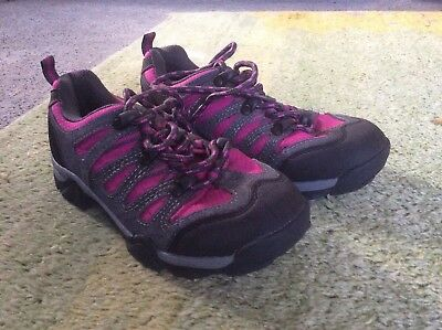 Girls Mountain Warehouse walking shoes, walking trainers, pink and grey size 2