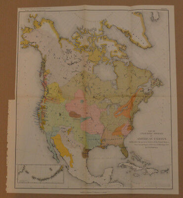 1881 Powell Map of North America w/Native American Languages~11th US census 1890