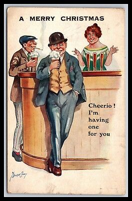 Merry Christmas Drinking Beer Artist Signed By Stocker Postcard, Udb
