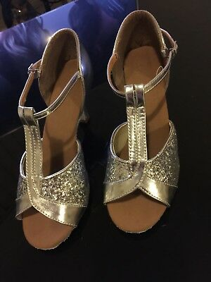 Silver Leatherette Latin Dance Shoes