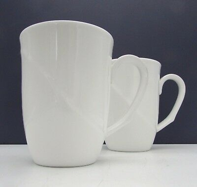 TWO Wedgwood SOLAR Bone China WHITE MUGS
