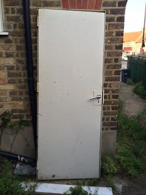 Used steel security door with frame and key